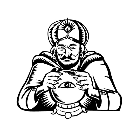 Retro woodcut style illustration of a fortune teller image