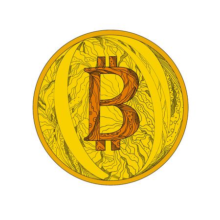 マンダラスタイルで行われた世界で最初の分散型デジタル通貨であるビットコイン、暗号通貨と世界的な支払いシステムの落書きアートイラスト。  イラスト・ベクター素材