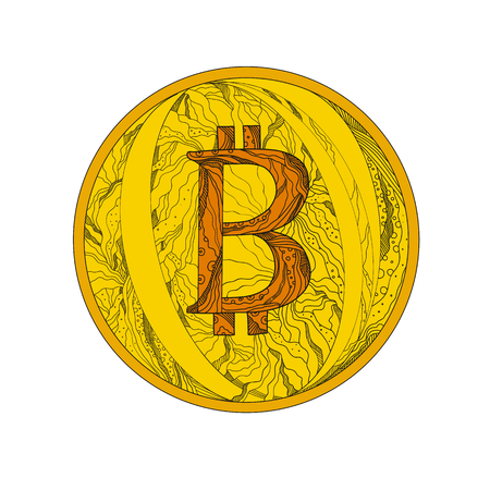 Doodle art illustration of a Bitcoin, a cryptocurrency and worldwide payment system that is the first decentralized digital currency in the world done in mandala style. Ilustração