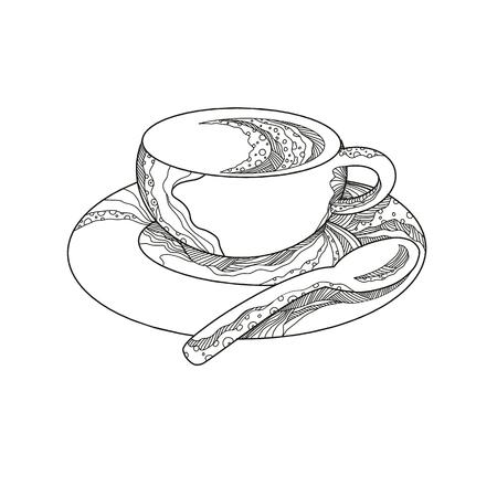 コーヒーのカップの落書きアートイラスト、マンダラスタイルで行われたティースプーンでソーサーに醸造ドリンク。