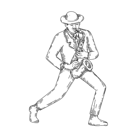ジャズプレーヤー画像のアウトライン