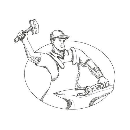 ハンマーのアウトライン画像を振り回す男  イラスト・ベクター素材