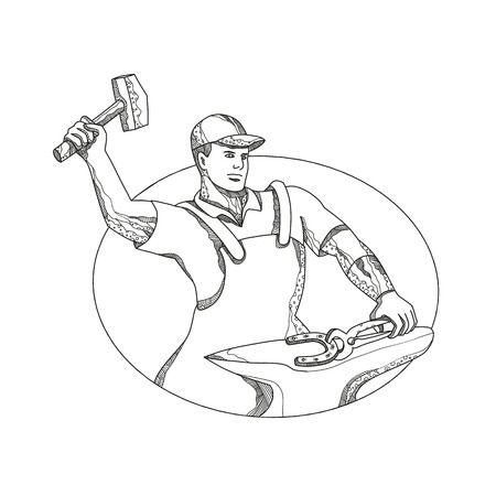 Man wielding a hammer outline image Illustration