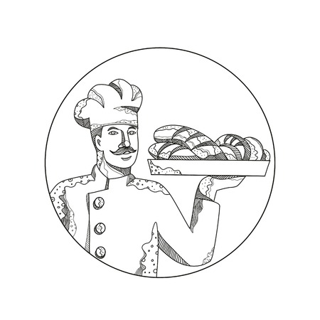 Baker or pastry chef holding a plate outline image
