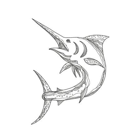 Imagen de contorno de marlin azul atlántico