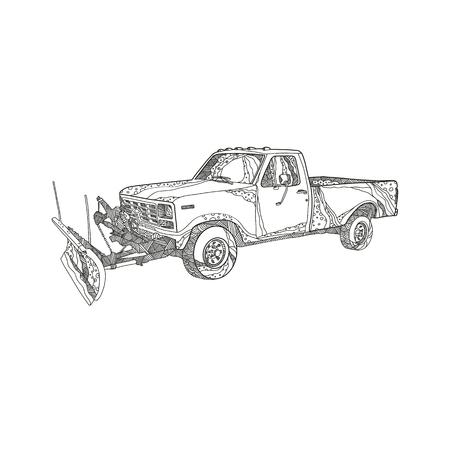 눈 쟁기 블레이드와 눈 쟁기 또는 snowplow 트럭의 낙서 예술 그림 만다라 스타일을 이루어 장착. 일러스트