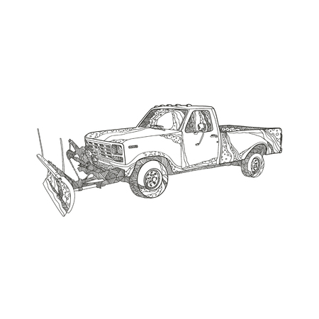 Doodle art illustration of a snow plow or snowplow truck with snow plow blade fitted done in mandala style. Vectores
