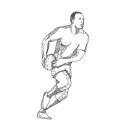 Doodle art illustration of a rugby player passing while running with ball in black and white done in mandala style.