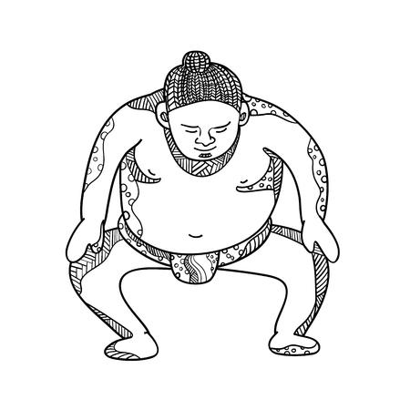 マンダラ風に前から見た力士や力士ストンピングの落書きアートイラスト。