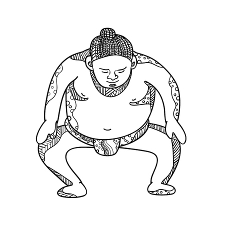Doodle art illustration of a sumo wrestler or rikishi stompiing viewed from front done in mandala style.