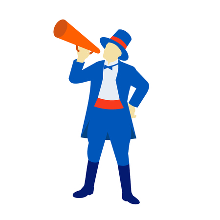 Retro style illustration of a ringmaster, ringleader,master of ceremonies, a significant performer in a circus, shouting, holding a bullhorn on isolated background.