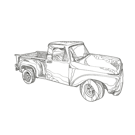 Doodle art illustration of a vintage pickup truck, a light duty truck with enclosed cab and an open cargo area with low sides and tailgate done in mandala style.