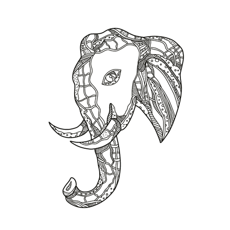 マンダラ風に行われた黒と白で横から見た雄牛アフリカゾウの頭の落書きアートイラスト。