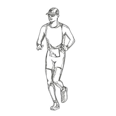 Doodle ilustración de arte de un triatleta, maratón, duatlón, trail runner corriendo sobre fondo aislado hecho en estilo mandala. Foto de archivo - 96550895