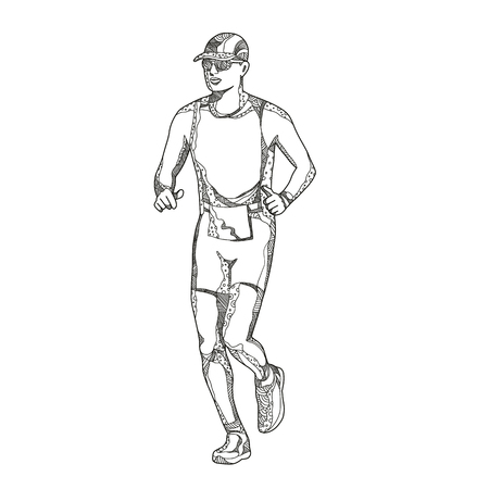 Doodle art illustration of a triathlete,marathon,duathlon, trail runner running on isolated background done in mandala style.