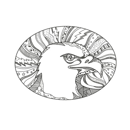 ハゲワシやウミワシの頭の落書きアートイラスト、マンダラスタイルで行われた黒と白の楕円形の内側に設定された北米の側面図で見つかった獲物  イラスト・ベクター素材
