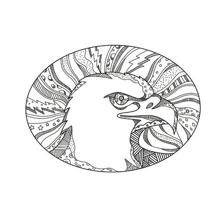 대머리 독수리 또는 바다 독수리, 북미 측면에서 발견 조류의 머리의 낙서 예술 그림 흑백 만다라 스타일에서 타원형으로 설정합니다. 일러스트