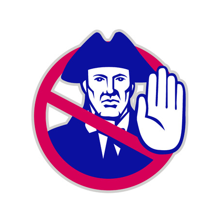 Retro icon style illustration of an American patriot with hand up stop sign or symbol set inside circle viewed from front on isolated background.