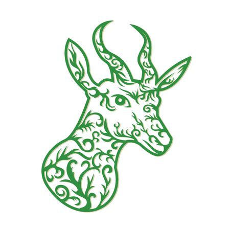 Papier gesneden stijl illustratie van een kop van springbok, middelgrote antilope gevonden in zuidelijk en zuidwestelijk Afrika gedaan in retro, decoratief papercutontwerp. Stock Illustratie