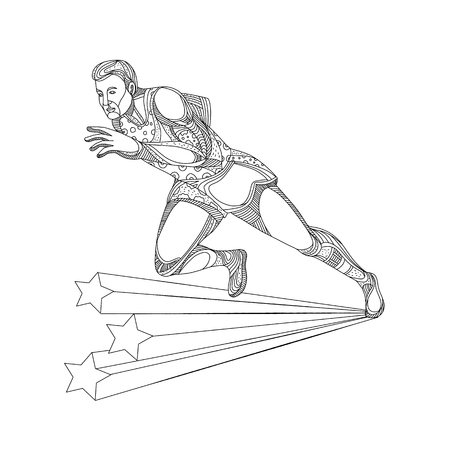 Doodle art illustration of of track and field athlete running sprinting in black and white done in mandala style. Vectores