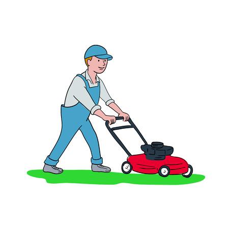 Karikaturartillustration eines mähenden Rasens des Gärtners mit dem Rasenmäher oder Rasenmäher angesehen von der Seite auf lokalisiertem Hintergrund. Vektorgrafik