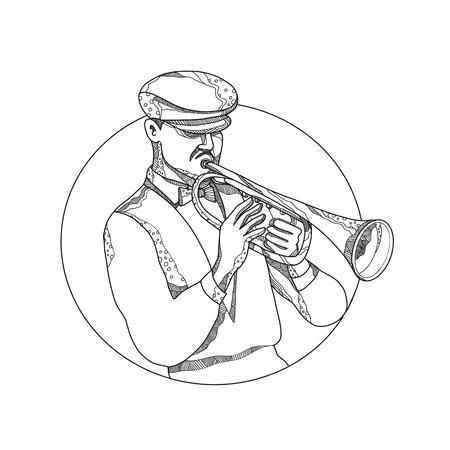 De illustratie van de krabbelkunst van een klassieke jazzmusicus die een trompet spelen die een vlakke GLB dragen of cabbie GLB vastgestelde binnencirkel in zwart-wit gedaan in mandalastijl. Stock Illustratie