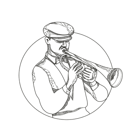 Doodle art illustration of a classical jazz musician playing a trumpet wearing a flat cap or cabbie cap set inside circle in black and white done in mandala style.