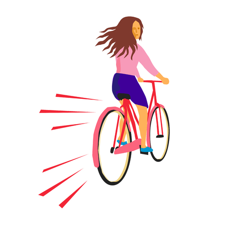 Retro style illustration of a girl riding a vintage cruiser bicycle looking back on isolated background.