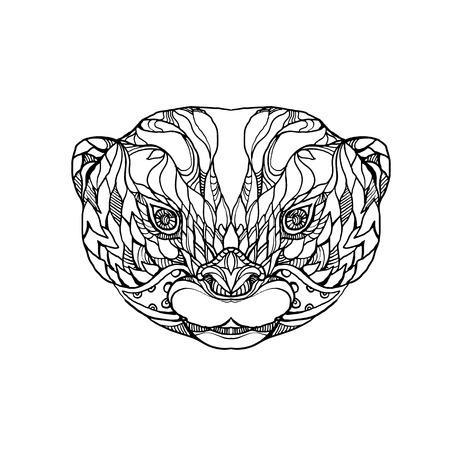 동양의 작은 발톱 수달, 아시아의 작은 발톱 수달 또는 작은 발톱 수달, 만다라 스타일을 이루어 흑백의 반 수생 포유류의 머리의 낙서 예술 그림. 일러스트