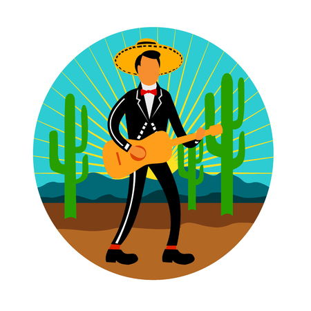 Icon retro style illustration of a Mexican mariachi playing, strumming the guitar wearimng sombrero in the desert with saguaro cactus and mountains set inside circle on isolated background.