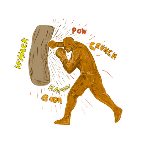 Drawing sketch style illustration of a boxer boxing punching hitting the punching bag with words pow, whack, kapow, boom, crunch on isolated background.  Illustration