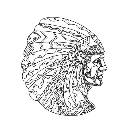 Doodle ilustración de arte de un nativo americano, indio americano, indio o indígena estadounidense, los pueblos indígenas de Estados Unidos, vistiendo sombrero de guerra o tocado en estilo mandala en blanco y negro. Ilustración de vector