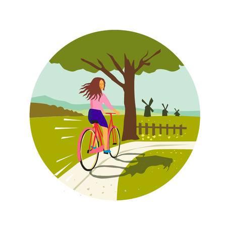 Retro style illustration of a girl riding a vintage cruiser bicycle looking back up towards tree with windmills set inside circle. Imagens - 96897008