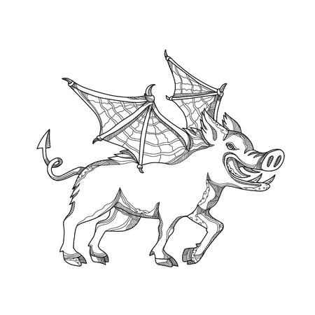 黒と白のマンダラスタイルで行われたコウモリの翼を持つ翼のイノシシ、豚、豚、野生の豚ユーラシアの野生の豚、豚やサススのスクローガの落書
