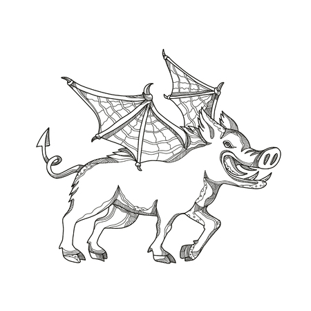 Doodle art illustration of a winged wild boar, swine, pig ,wild swine Eurasian wild pig, hog or Sus scrofa with bat wings done in black and white mandala style.