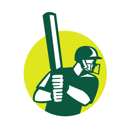 Icon retro style illustration of a cricket batsman batting viewed from side set inside circle on isolated background. Ilustração