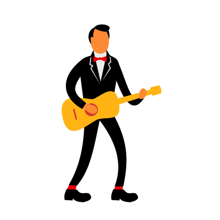 Retro style illustration of a guitarist in tuxedo suit playing the guitar on isolated background.