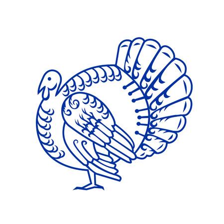 野生の七面鳥、アメリカ大世に自生するメレアグリス属の大きな鳥のペーパーカットスタイルのイラストは、レトロで装飾的なペーパーカットのデ