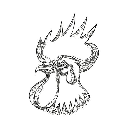 ジャングルの鳥の頭の落書きアートイラスト。、オースター、コッケレルまたはオスの鶏、黒と白のマンダラスタイルで行われた横から見たオスの