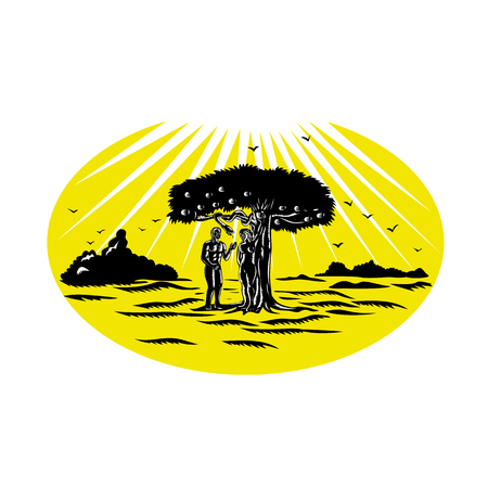 Retro woodcut style illustration of Adam and Eve standing by apple tree being tempted by a serpent to eat the forbidden fruit in the Garden of Eden set inside oval.
