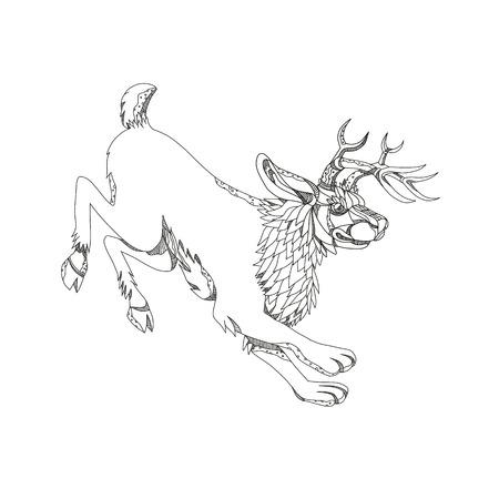 Jackalope, 흑백 만다라 스타일을 이루어 영양 뿔과 jackrabbit로 설명하는 북미 민속의 신화 동물의 낙서 예술 그림.