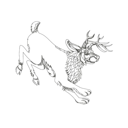 Doodle art illustration of a jackalope, a mythical animal of North American folklore described as a jackrabbit with antelope horns done in black and white mandala style.