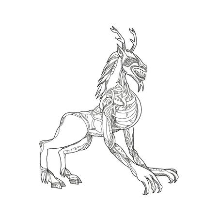 ウェンディゴやウィンディゴ、アルゴンキア神話の人食いモンスターや米国とカナダ原産の悪霊の落書きアートイラストは、黒と白のマンダラスタ  イラスト・ベクター素材