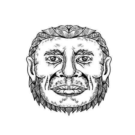 Doodle art illustration of head of male Neanderthal ,Neandertal or Homo neanderthalensis, an archaic human that became extinct front view in black and white done in mandala style.