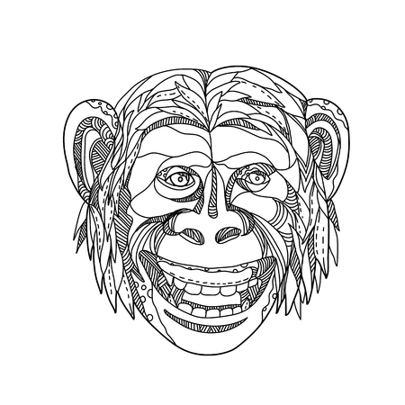 Doodle art illustration of head of a humanzee, apeman caveman or Neanderthal, a chimpanzee/human hybrid or an early human with traits of apes and humans, smiling done in black and white mandala style.