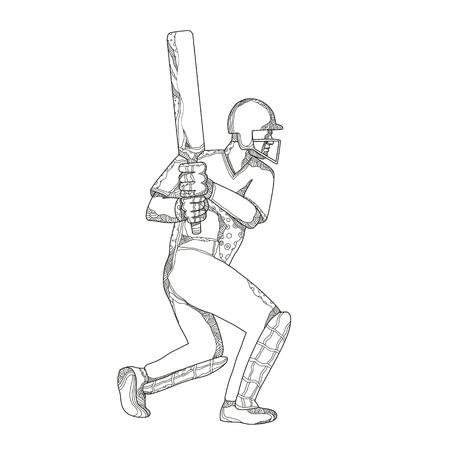 ●黒と白のマンダラスタイルで行われたクリケットバットマンバッティングの落書きアートイラスト。
