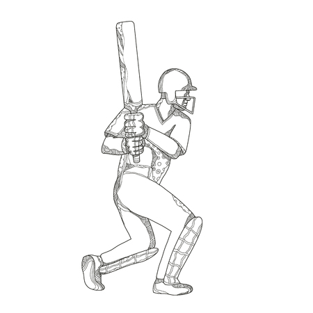 Doodle art illustration of a cricket batsman batting viewed from side done in black and white mandala style.