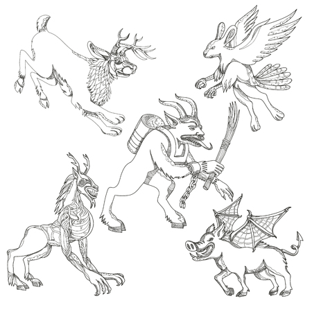 A collection of doodle art illustrations that includes the following mythical creatures from legend folklore.