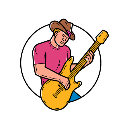 Line illustration of cowboy playing the guitar set inside a circle