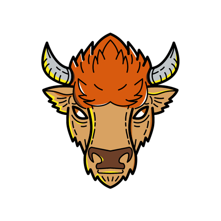 Mono line illustration of head of European bison, Bison bonasus, wisent or the European wood bison, a Eurasian species of bison viewed from front done in monoline style. Stock Illustratie